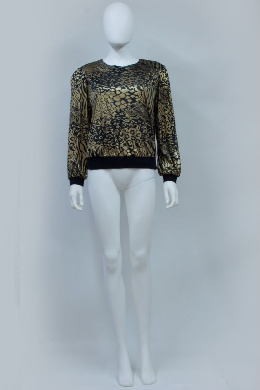 90s Gold Animal Print Sheer Top
