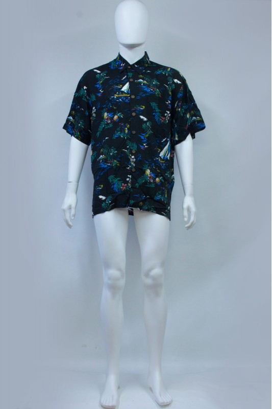 90s Beach Print Black Hawaiian Shirt