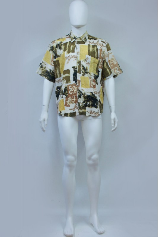 90s Abstract Baroque Print Short Sleeve Shirt