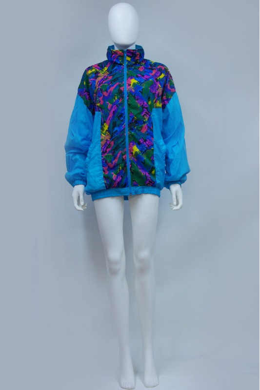 90s Oversize Abstract Print Shell Jacket