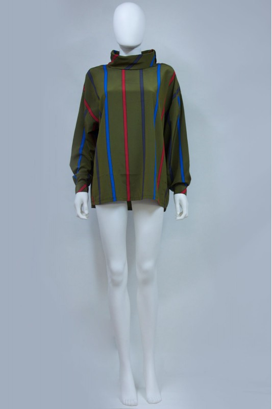 80s 90s Striped Roll Neck Oversize Blouse Shirt