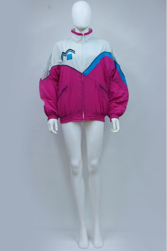 80s Pink Colourblock Abstract C&A Windbreaker