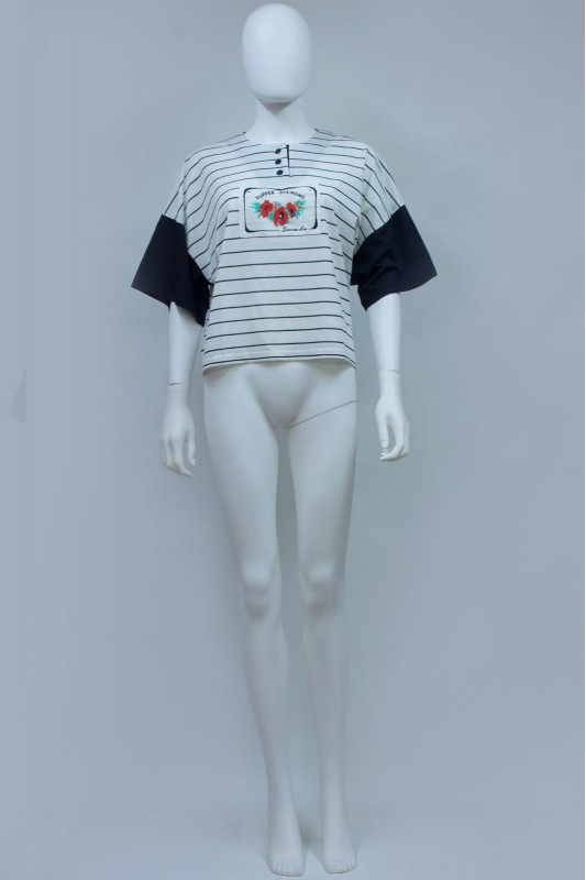 80s Cropped Striped  TShirt