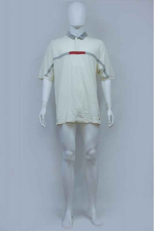 Vintage Tommy Hilfiger Cream Spell Out Polo Tshirt