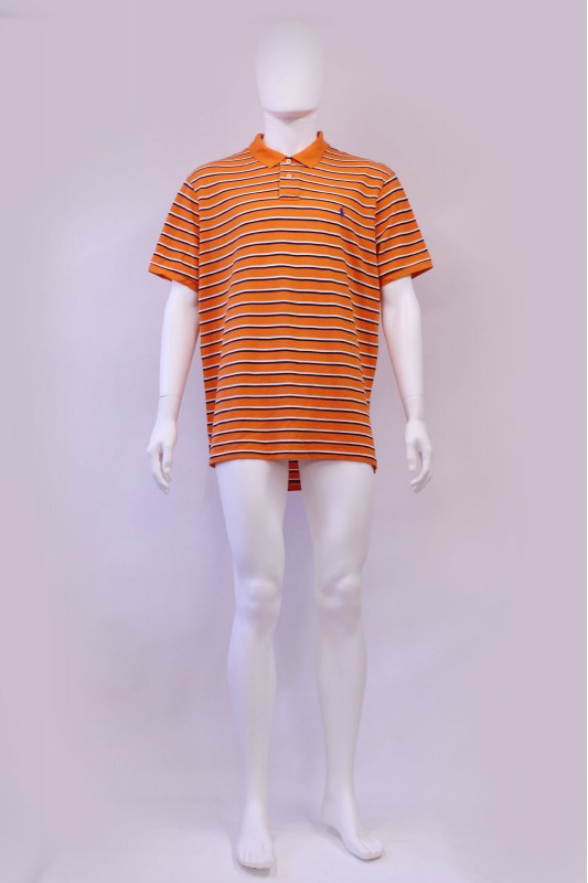 Vintage Polo Ralph Lauren Orange Stripe Polo Tshirt