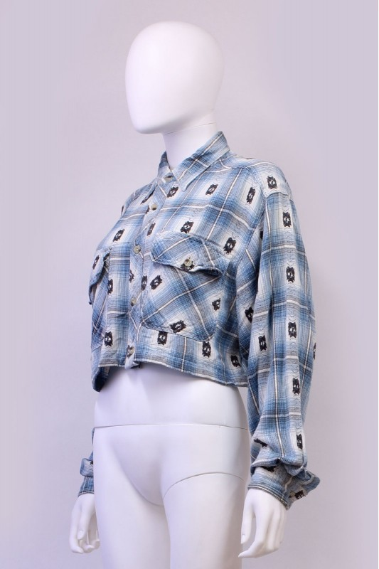 Reworked Vintage Aztec Flannel Crop Shirt