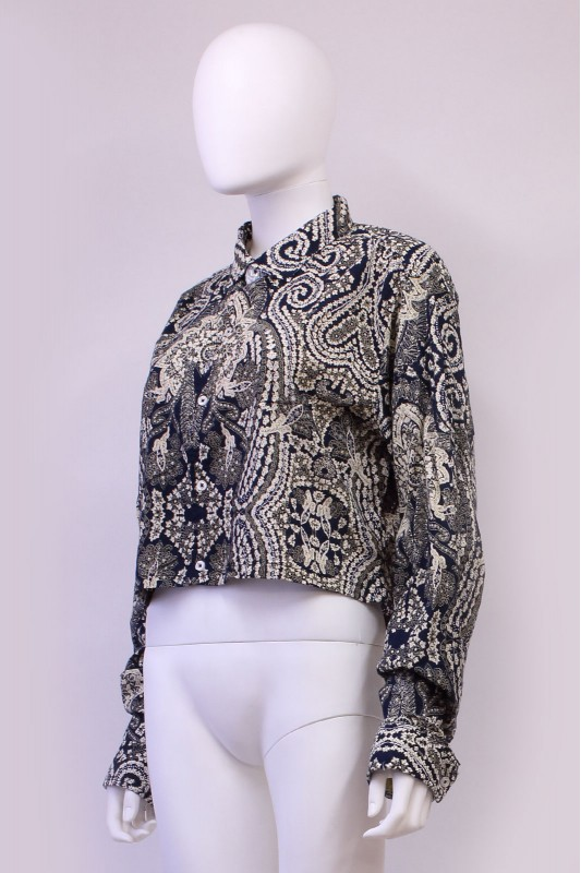 Reworked Paisley Print Crop Shirt