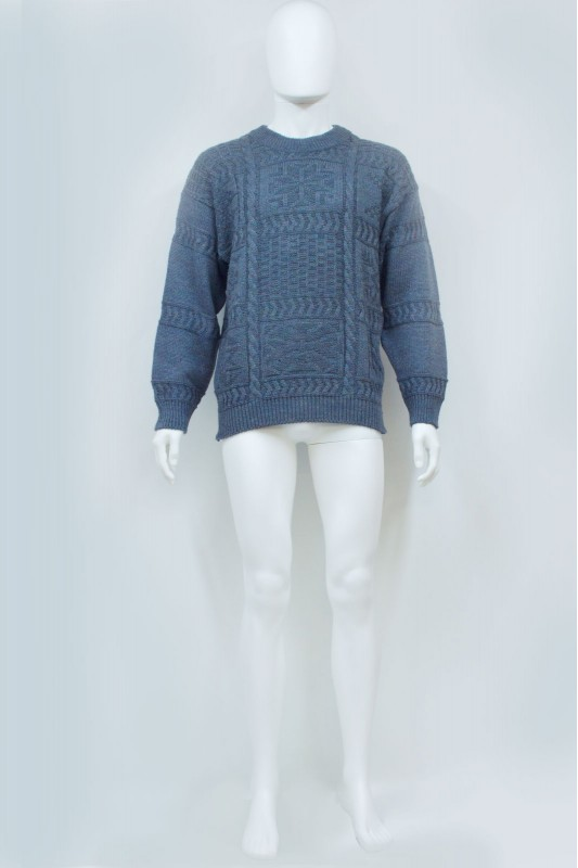 90s Blue Cable Fisherman Knit Jumper
