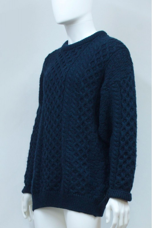 90s Emerald Wool Chunky Cable Fisherman Knit Jumper