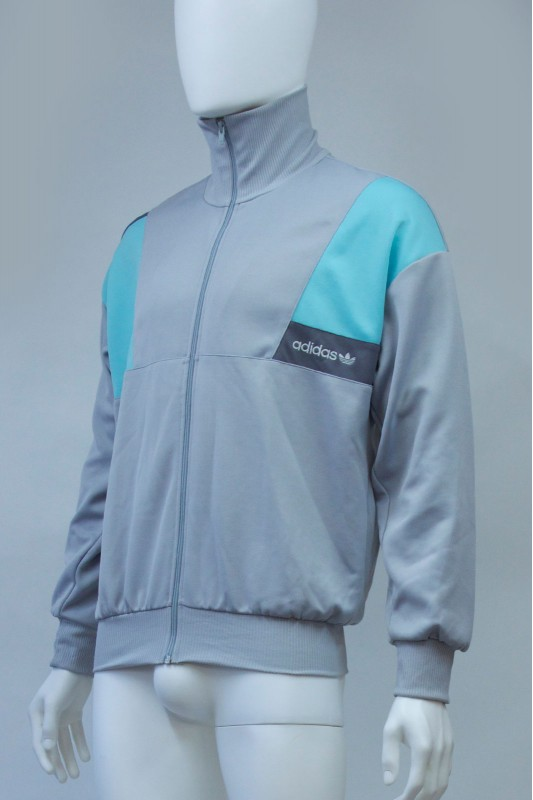 80s Adidas Silver Turquoise Tracksuit Jacket