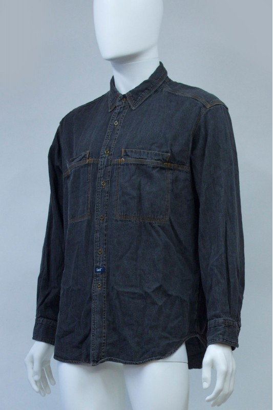 90s Lee Black Denim Shirt
