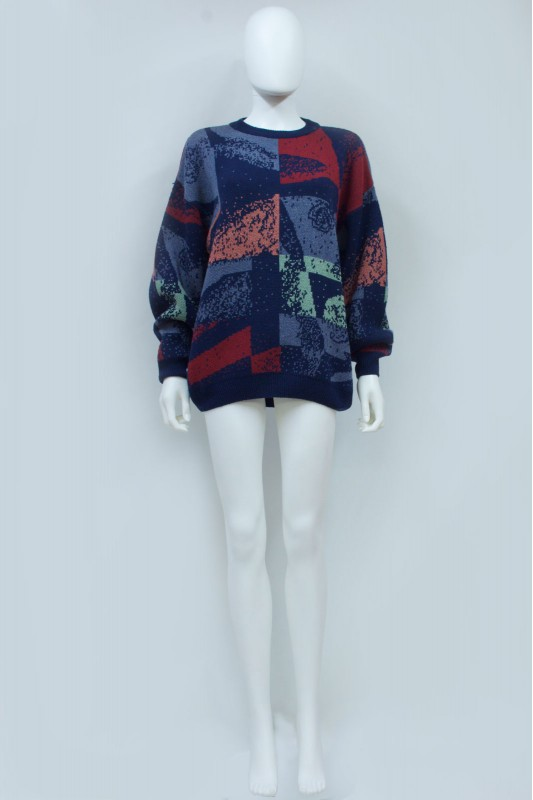 90s Abstract Floral Oversize Knit Jumper