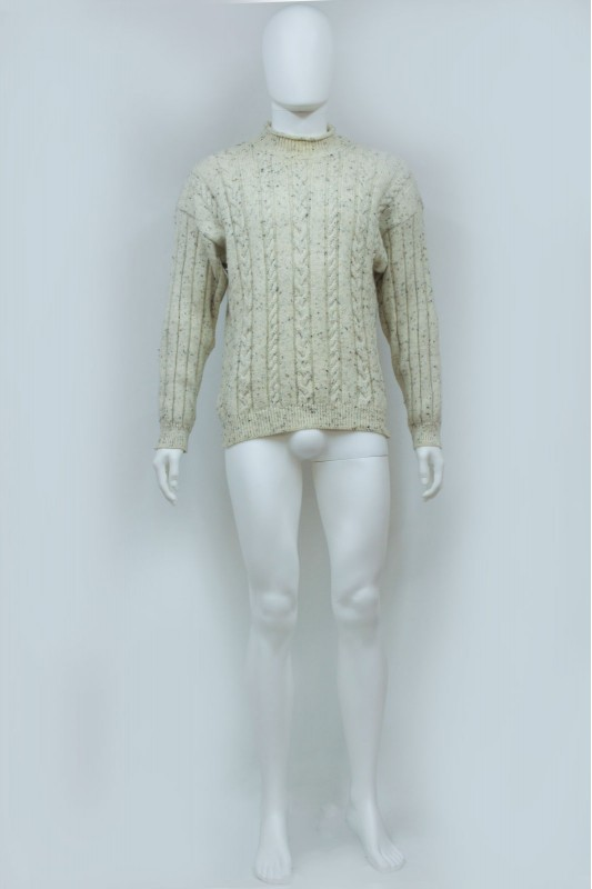 90s Cable Knit Crew Neck Wool Jumper