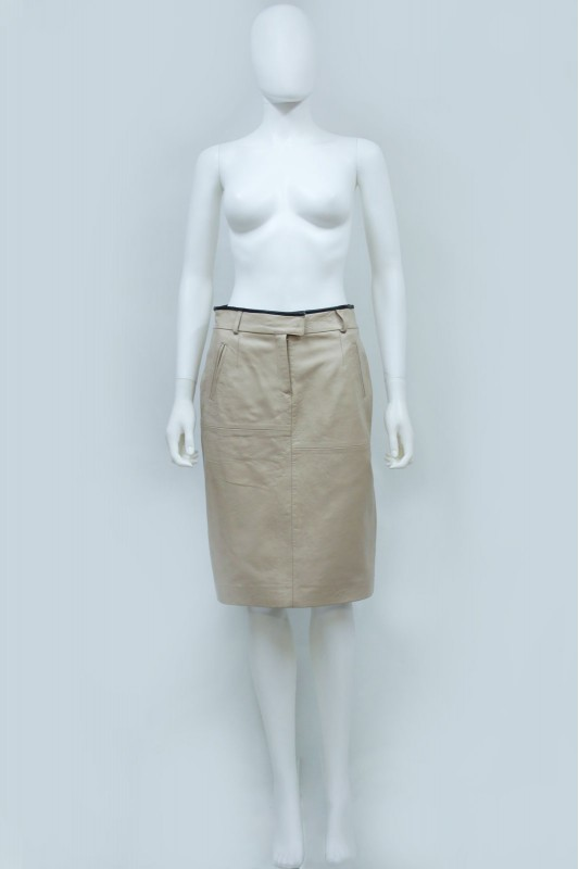 90s Beige Leather Skirt