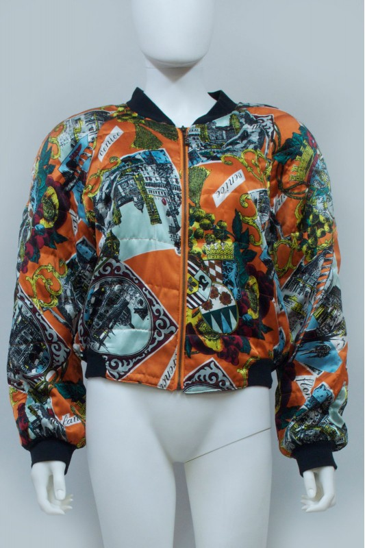 90S Baroque Print Quilted Bomber Jacket