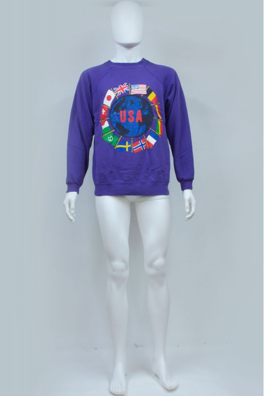 90s World Flag Print USA Sweatshirt
