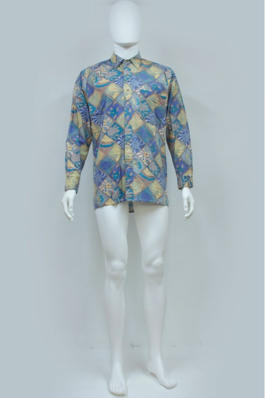 80s Floral / Diamond Print Shirt