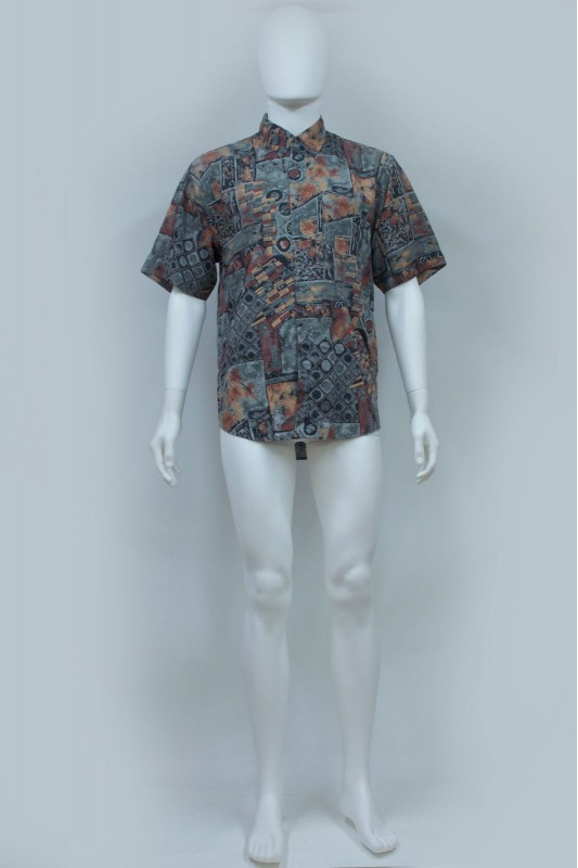 90s Abstract Print Slouchy Short Sleeve Shirt