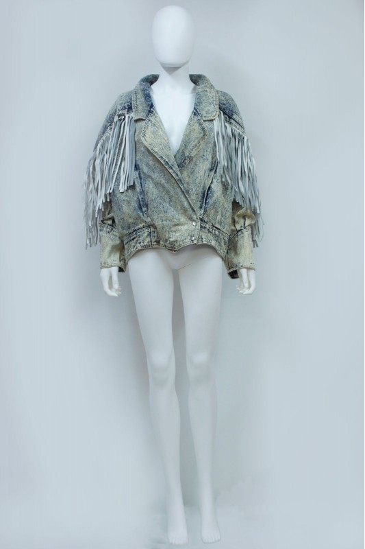 80s 90s Acid Wash Denim Leather Tassle Oversize Jacket