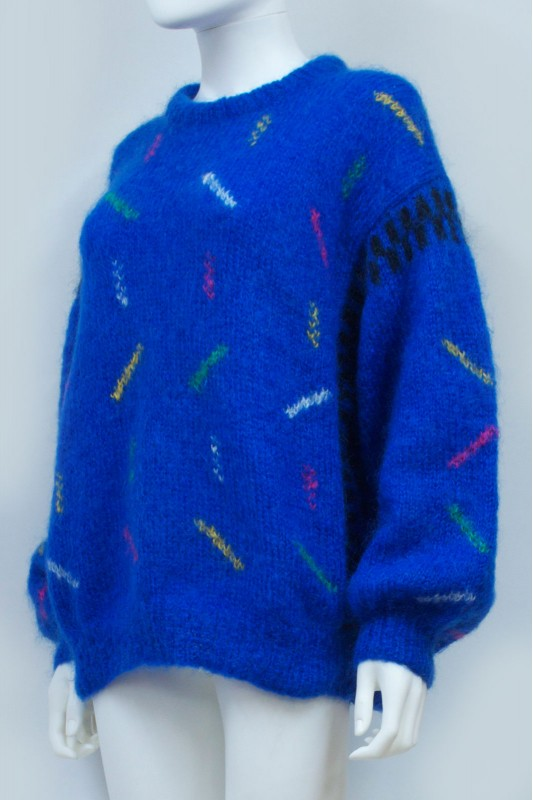 80s 90s Blue Pattern Mohair Jumper
