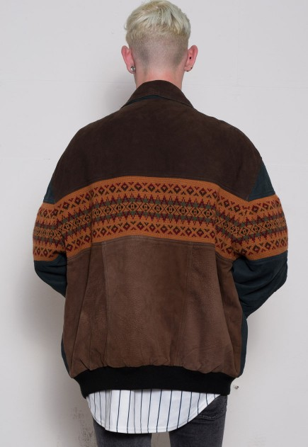 90s Suede Navajo Knit Bomber Jacket