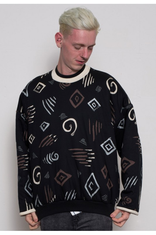 90s Quilted Abstract Print Sweatshirt